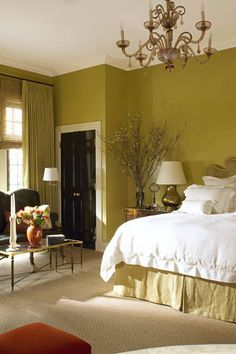 If you've already decided you want to spotlight green or you still need some convincing and inspiration, you're in the right place. We're showcasing designer green bedrooms that set the gold standard for decorating with this nature-inspired color. Keep reading to see how this versatile anchor color can transform just about any bedroom, no matter where it is—an estate, city apartment, or even a mountain chalet. Green Bedrooms, Bedroom Green, Living Room Colors, Paint Cans, Nature Inspired, Color Inspiration, Green Colors, Spotlight, Anchor