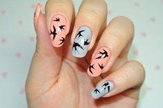 swallow. sparrow. nail art. black. blue. pink.