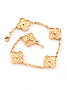 Van Cleef & Arpels 18K Rose Gold 5 Motif Vintage Alhambra Bracelet at London Jewelers!