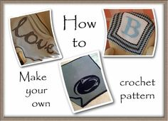 Crochet How To how-to-make-your-own-crochet graph pattern - Bonus post! A few years ago, a friend asked me to crochet him a blanket with the Penn State logo on it. I'm ALWAYS a sucker for a challenge and I set out to find a way to do it. After a lot o… Graph Crochet, Filet Crochet, Crochet Stitches, Crochet Hooks, Knit Crochet, Crochet Borders, Crochet Squares, Cross Stitches, Knitting Patterns