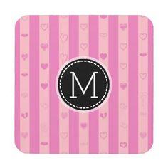 #girly - #Monogram Pink Purple Stripes Modern Heart Pattern Coaster