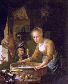 Girl Chopping Onions by Gerrit Dou
