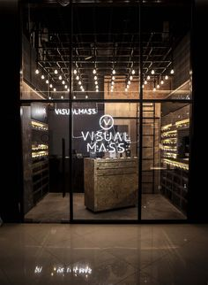 Visual Mass is an alternative optometry/eyewear brand with a mission to provide sight for the masses without the clutch of unreasonable pricing. Retail Store Design, Retail Shop, Retail Facade, Beer Store, Optical Shop, Retail Interior, Interior Shop, Interior Design, Optometry