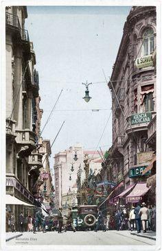 1930 - Rua Direita em Direção a Sé - Colorizado por Reinaldo Elias