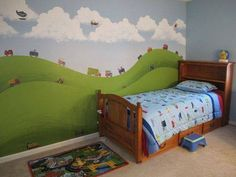 Customer Image Gallery for RoomMates Transportation Peel Stick Wall Decals Little Boy Bedroom Ideas, Boy Toddler Bedroom, Big Boy Bedrooms, Cool Kids Bedrooms, Toddler Rooms, Baby Boy Rooms, Baby Room, Boy Room Paint, Ideas Habitaciones