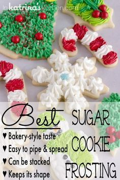 Best Christmas Cookie Frosting Recipe I've been perfecting my Christmas Sugar Cookies (cut outs) for years. This is the Christmas Cookie Frosting recipe I use to top them! Best Sugar Cookie Recipe, Best Sugar Cookies, Frosted Sugar Cookies, Homemade Cookie Icing Recipe, Store Bought Sugar Cookie Recipe, Homemade Sugar Cookies, Spritz Cookies, Meringue Cookies, Christmas Sugar Cookies