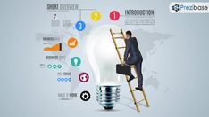 3D businessman business idea climb light bulb infographic prezi template for presentations