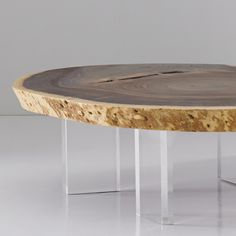 Floating Coffee Table with Acrylic Legs Natural, Size Varies