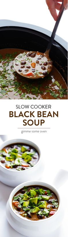 This Slow Cooker Black Bean Soup recipe is full of great flavor, naturally vegan and gluten-free, and it's extra easy to make in the crock pot! | gimmesomeoven.com