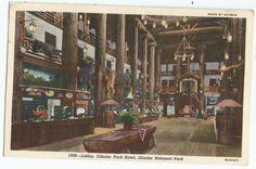 Montana Glacier Park Hotel Lobby National Park Vintage Linen Postcard