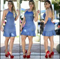 Fashion Mode, Denim Fashion, Girl Fashion, Fashion Outfits, Cute Girl Dresses, Super Cute Dresses, Short Dresses, Womens Denim Dress, Beautiful Blonde Girl