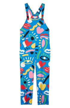 Stella McCartney Kid Graffiti Print Jumpsuit (Little Girl & Big Girl) Painted Jeans, Painted Clothes, Retro Outfits, Cool Outfits, Fashion Outfits, 2000s Fashion, Printed Jumpsuit, Cotton Jumpsuit, Looks Street Style