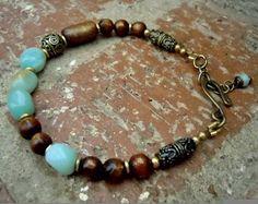 Bohemian Bracelet / Yoga Bracelet / Yoga Jewelry / Boho  / Golden Coral / Amazonite / Woman Bracelet / Bohemian Jewelry /