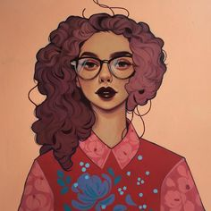 """""""Four Eyes"""" acrylic on wood panel 12x12 is now available online at the @giantrobotstore website! http://ift.tt/1ZItNef check it out if you've been waiting for any of these ladies :) I'd love to see them go to good homes! #illustration #painting #acrylic #art #portraiture by kelseyjbeckett"""