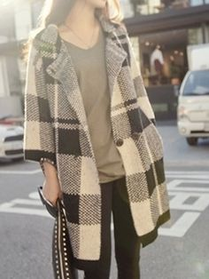 Monochrome Plaid Lapel Double Breasted Long Sleeve Cardigan | Choies