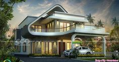 2800 square feet, 4 bedroom flowing style unique home design by Green Homes, Thiruvalla, Cochin and Alappuzha, Kerala.