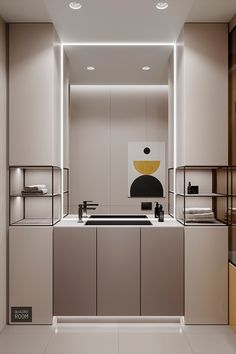 Family Home With Reserved Red & Yellow Accents – Badezimmer einrichtung Washroom Design, Toilet Design, Bathroom Interior Design, Kitchen Design, Diy Kitchen, Taupe Kitchen, Bath Design, Kitchen Decor, Apartment Interior