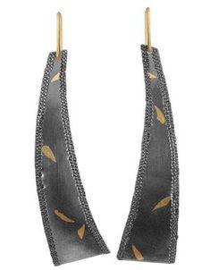 """Kakejiku Arced Dangles"" Earrings Fine Silver, 22K Gold, 14K  Keum Boo, Nanako-Hori, Forming, Fabrication, Patina"