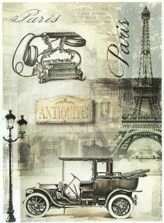 Ricepaper/Decoupage paper,Scrapbooking Sheets /Craft Paper Vintage Black Paris
