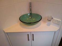 Attirant Corner Vanity, Vessel Sink.