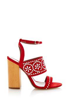 Blaze Sandal With Beaded Appliqué And Chunky Heel by Tabitha Simmons for Preorder on Moda Operandi