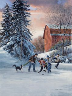 Winter Painting, Winter Art, Winter Pictures, Christmas Pictures, Hockey Drawing, Frozen Pond, Park Art, Winter Scenery, Mountain Art