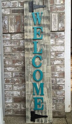 Front Porch Teal Outdoor Wood Sign Great for sitting on your front porch to welcome in family and friends. Can be leaned up against your home or hung. - Size is approximately 10.5 x 52 inches - New Cedar Wood - Custom Letter color (you pick) LETTER COL