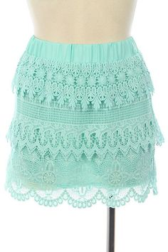 Keepsake Lace Skirt in Mint