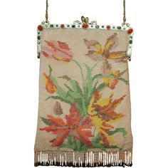 HUGE REDUCTION Vintage 1920's Floral Beaded Purse Jeweled Frame