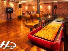 Clear table over shuffleboard. Hudson Custom Table Shuffleboard Tables - Zieglerworld.com Pool Table, A Table, Dining Table, Shuffleboard Games, Basement Inspiration, Basement Ideas, Acid Etched Glass, Outside Bars, Tiki Decor