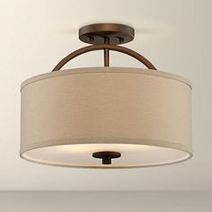 "Halsted Brushed Bronze Semi-Flush 15"" Wide Ceiling Light. Hallway and Guest Bedroom Ceiling Lights."