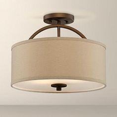"Halsted Brushed Bronze Semi-Flush 15"" Wide Ceiling Light. Hallway and Guest Bedroom Ceiling Lights."