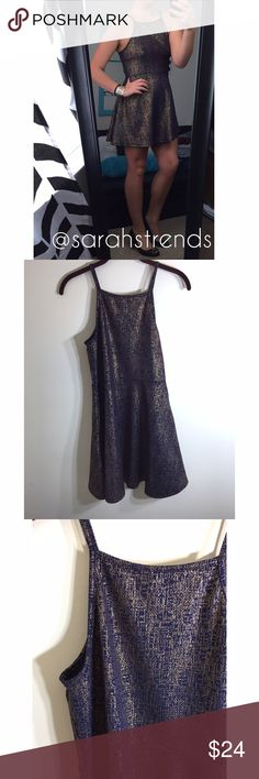 """Blue&Gold Sparkle Dress Blue & Gold Gorgeous dress. Like new condition! This dress is so comfortable & stretchy. It is also very slimming! Size XL But it fits me (I'm a large) 33 inches from shoulder to bottom. (I am 5""""6) try! this Dresses Mini"""