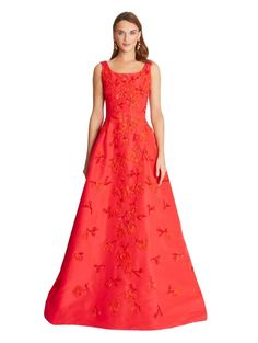 Oscar de la Renta Silk Faille Gown with Floral Embroidery