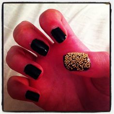 Black & gold caviar manicure I did, inspired by the Ciate caviar manicure. I used Sally Hansen xtreme 'black out' nail varnish and gold caviar beads bought from a craft shop. Easy and cheaper way to achieve this look xo #nailart #caviarmani #blackandgold