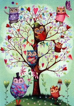Springtime Owls!     Folded card by Mila Marquis, available on Etsy.