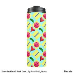 I Love Pickleball Pink Green Yellow Thermal Tumbler