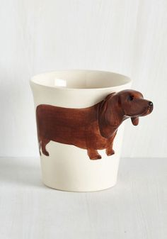 Yappy Hour Mug in Dachsund. After a long day at work, youre ready for a hot toddy served in your dearest mug!  #modcloth