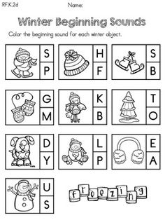Winter Beginning Sounds >> Part of the KINDERGARTEN COMMON CORE ALIGNED WINTER LITERACY WORKSHEETS