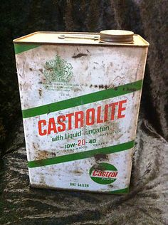 Vintage 1960s Castrol Castrolite 1 gallon oil can with lid in fair condition $40 ONO