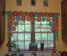 *·.♥.·*´¨¨*·.♥.·*´¨¨*·.♥.·*´¨¨*·.♥.·*´¨¨*·.♥.·*´¨¨*·.♥.·* Crocheted Beautiful Multi-Color Window Curtain, Photos cant really describe how beautiful this curtain is! Can be special ordered as to width, length and colors you wanted. To make this curtain it will take me 5 to 7 days till i get it