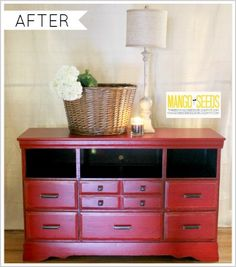 Dresser to entertainment center -  rescue and makeover!  By Three Mango Seeds