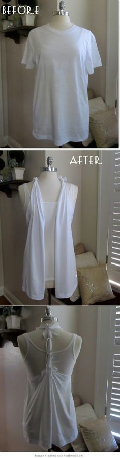 DIY Tutorial on How to Turn a T-Shirt into a Racer Back Sleeveless Draped Vest - by WobiSobi