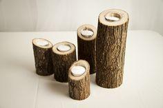 Rustic Wooden Candle Holder, via Flickr.