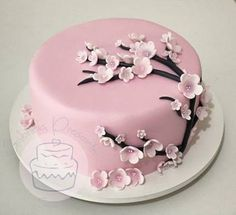 22 Ideas Cake Flower Decorating Cherry Blossoms For 2019 Pretty Cakes, Cute Cakes, Beautiful Cakes, Amazing Cakes, Fancy Cakes, Mini Cakes, Cherry Blossom Cake, Cherry Blossoms, Fun Cupcakes
