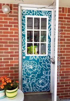 Exterior House Colors, Exterior Paint, Door Murals, Shutter Doors, Mural Painting, Painted Doors, Outdoor Art, House Front, Interior Decorating