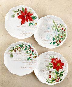 Lenox Dinnerware, Set of 4 Winter Meadow Dessert Plates - Fine China - Dining & Entertaining - Macy's