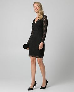 Lace V-Neck Mini Cocktail Dress - Corded lace with scalloped edges adds a romantic touch to a cocktail dress designed with a wrap-like mini silhouette. V Neck, Formal Dresses, Lace, Pretty, Cocktail Dresses, Outfits, Clothes, Mini, Makeup