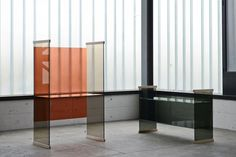 Diapositive thermo welded glass furniture by Ronan & Erwan Bouroullec for Glas Italia