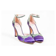 """Pre-Owned Prada """"""""Luxuri""""""""Purple Green Satin Lizard Cutout Strappy... ($125) ❤ liked on Polyvore featuring shoes, pumps, purple, high heel pumps, purple high heel shoes, high heeled footwear, metallic pumps and strap pumps"""